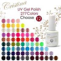 Drop Shipping 12Pcs/Lot (10pcs color gel+1pc base +1pc top coat) 277 Fashion Colors UV Gel Polish Soak-off Nail Gel