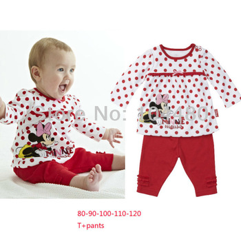 minnie 2013 fashion baby clothing sets/kids boys girls nightgown clothes/neutral childrens long sleeve cotton pajamas suit pjs
