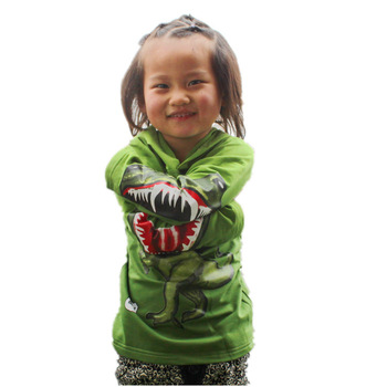 shij003 promotion supernova sale dinosaur boys hoodies & sweatshirts christmas 3~11age novelty  children outerwear
