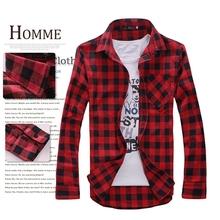 2014 new free shopping  Men's Long Sleeved Flannel Casual Plaid Shirt Men Checkered Dress Shirts, Slim Stylish Fashion SANZETTI(China (Mainland))