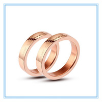 (Min order $5)(>3pcs,20% off) Rose Gold 316L Stainless Steel Paired Engagement  Wedding Rings Couple Love Purity Ring Wholesale