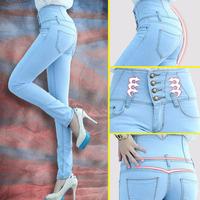 2014 Fashion Women High Waist Skinny Jeans Women Single Breasted High Elastic Slim Pencil Pants Size 26-32