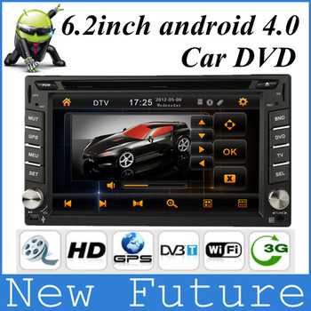 Car DVD Player/ car pc Universal android 4.0 Car DVD for 6.2 inch double din car pc with GPS Bluetooth radio HD stereo IPOD TV