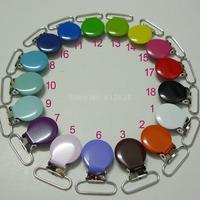 180pcs 1'' 25mm 18 Colors Assorted Enamel Round Shape Suspender Clips