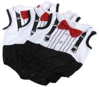2015 Hot Sales Infant Baby Romper Boy Romper Tie Gentleman Short Sleeves Weskit & Bow Tie Infant Romper