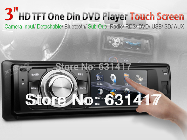 "Fashion 3"" digital touch screen 1 Din Car DVD Player Single Din car stereo audio detachable panel radio bluetooth subwoofer(China (Mainland))"