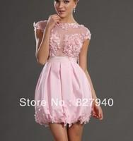 2014 Hot Sale/New Style Pink Jewel A Line Mini Flower Satin Graduation Dress Party Dress Prom Dress,Custom!!