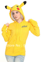 Hot Sale Pikachu Hoodies Cosplay Costume!!! Animal hoodie with Ears Couple Sweatshirt Cotton Yellow Coat Women Men