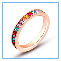 (Min order $5) (>3pcs 15% off) Wholesale Women Rose Gold 316L Stainless Steel Multicolor Wedding Engagement Channel-set CZ Rings
