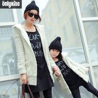 Children warm outerwear 2014 casacos meninas brand baby girl / mom snowflake fleece  cardigan jacket kids winter coat family