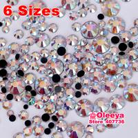 Mixed Size ! 6 Sizes Crystal AB 1440pcs/Bag DMC HotFix FlatBack Rhinestones Hot Fix iron-on Accessories Stones Free shipping