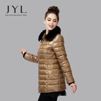 JYL Women parkas winter 2014 with puffer genuine fox fur collar,slim fit stylish design elegant women down and parka 2014