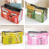 Free Shipping 2 pcs/lot 6 Colors available Dual Travel Organizer Bag Handbag Nylon Cosmetic Storage Bag