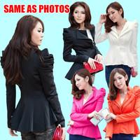 OISK 2014 Women's Basic Jackets Double Collar Black Dovetail Blazer Shrug Lady Puff Sleeves One Button Jacket Coat Plus XXL XXXL