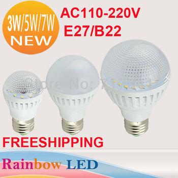 Free shipping 5W 7W LED bulb lamps lighting  E27 B22 2835 SMD LED light Cold  warm white