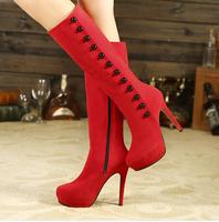 Red black zipper motorcycle women winter boot high-heeled platform pump shoes free shipping 2014 hot sale