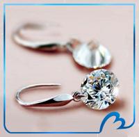 Promotion amazing earrings 8/9/10/12mm Austrian cubic zirconia bridal wedding drop earrrings for women Silver Plated earring