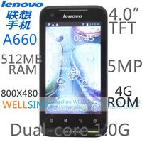 "Original Lenovo A660 Multi language Mobile phone 4.0""TFT 800x480 Dualcore1G 512 MB RAM 4G ROM  Android 4.0 5MP GSM"
