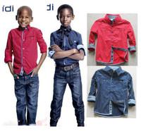 Boutique boys shirts polka dot  long sleeve boys tops 3-14 yrs high quality  2014 boys clothing boys brand clothing