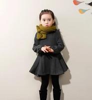 Retail children clothing,2013 Autumn Korean girls bowknot princess dresses,2-10Y kids warm outwear with thin cotton dress,high
