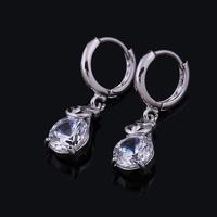 2014 Fashion Women Austrian crystal cubic zircon wedding clip earrings for women silver plated charm brincos