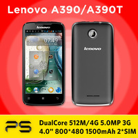 "Original 4.0"" Lenovo A390 A390T 512M/4G 5.0MP 800*480 1500mAh Android 4.0 Dual Core Dual SIM smartphone with multi-language ROM"