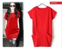 2013 Autumn Winter Women's woolen  Casual Dress Pocket Jersey Dresses For Women M L XL XXL XXXL