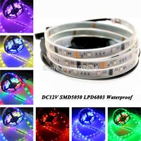 2015 coloful Rope strip Light promotion 5m DC12V 30led/M LPD6803 IC magic color SMD 5050 wateproof 12V led tape strip