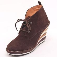 Women Genuine Leather Shoes Woman Boots Women High Heel Boot Short Barrel Buskin Platform Platform Black Brown Shoelace Lace Up(China (Mainland))