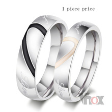 Fashion heart ring his and her promise rings sets stainless steel couple ring for men and women wedding ring