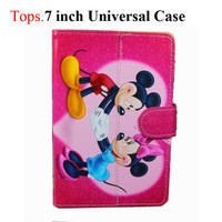 "7"" Cartoon PU Protective Leather Stand Case with Magnetic Closure for 7 Inch Tablet PC 10 Cute Patterns Girl Student"
