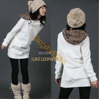 HOT SALES!!! White/ Black Fashion Womens Autumn Sweatshirt Hoodies Leopard Top Outerwear Parka Coats 3283 F