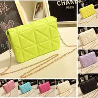 New 2014 fashion brand for Women Messenger bag Small Crossbody chain bag handbag designer PU candy plaid women leather handbags