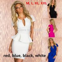 New 2014 Lotus lace casual V-neck Short sleeve women two piece outfits elegant cotton pencil dresses ladies dress plus size XXL