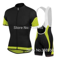 New 2014 Black cycling jersey full zipper /cycling clothing/ cycling wear+Bib shorts set men breathable quick dry Summer S-3XL