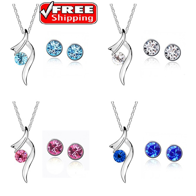 New 2014 wholesale Austria Crystal wedding jewelry sets Pendants Necklaces Stud Earrings Silver Plated Bridal Jewelry for Women(China (Mainland))