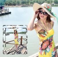2015 New Arrival Summer Sexy Swimwear Deep V Wrap Front Cover Up One Piece Brand Beach Dress Women Saia Bikini SV21SV001144