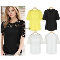 2014 Women summer Chiffon Hollow Out Lace Patchwork Blouses Short Sleeve Shirts Plus Size Women Blusas Femininas b8 SV002977