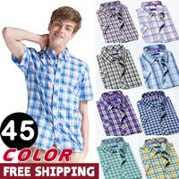 wholesale 2014 freeshipping brand top sale men cotton casual shirts hot summer male short sleeve slim plaid male dress shirt