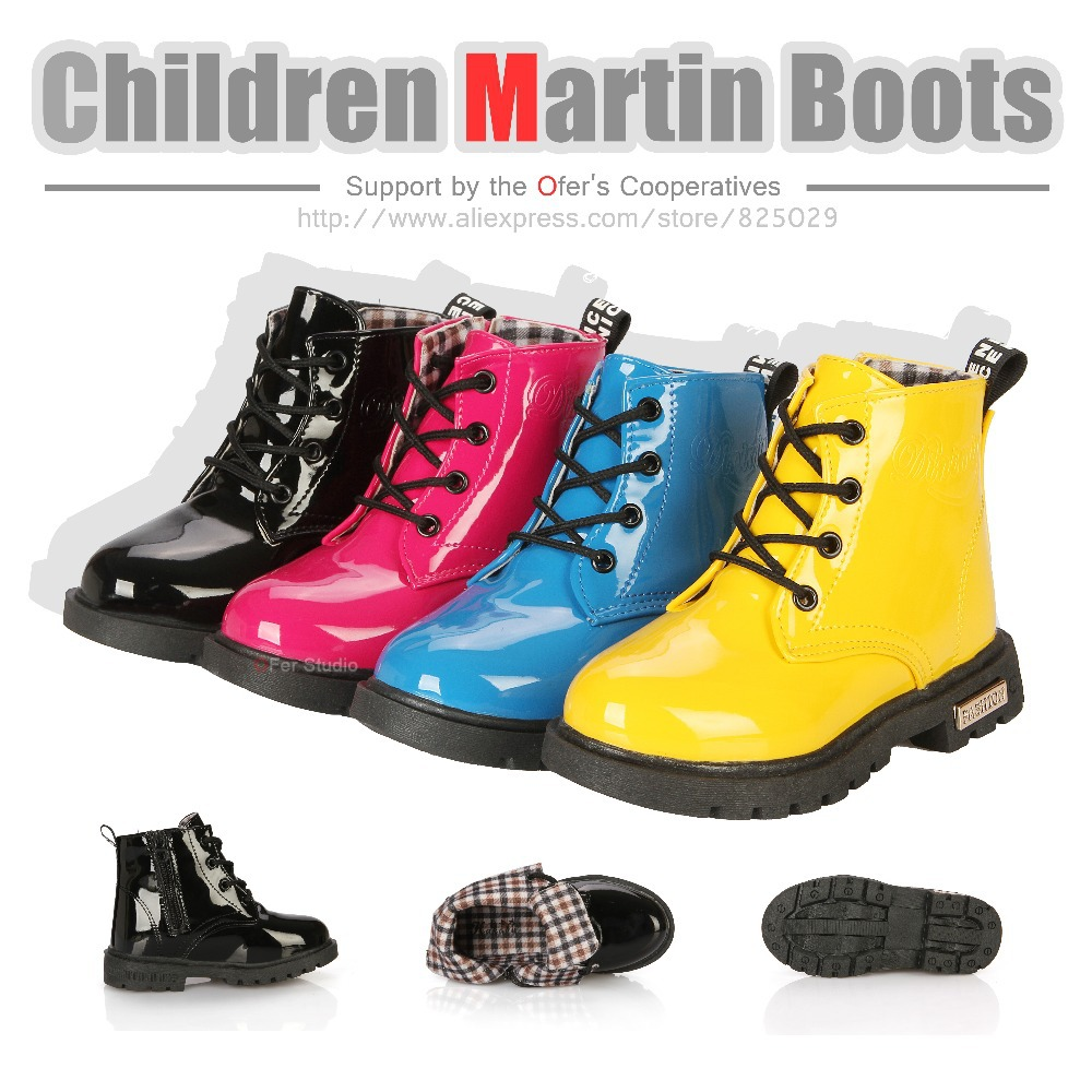 Free shipping 2015 Spring Fashion children martin boots bright japanned motorcycle boys girls snow PU sneakers Kids casual sho