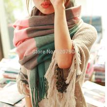 Winter Scarf Fashion Wool Spain Desigual Scarf Women Plaid Thick Scarves Shawl for Women 2014(China (Mainland))