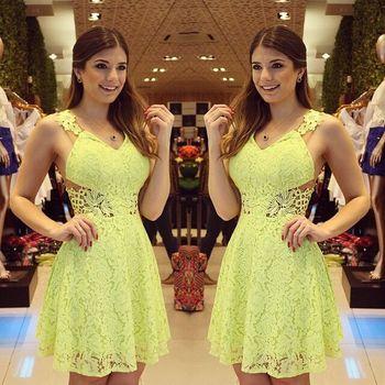 Новый 2015 женщины платье весна и лето полоса шифона с коротким рукавом платье, желтый кружева ну вечеринку свободного покроя кружева платья vestido