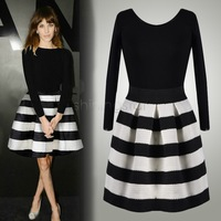 2015 New Fashion Women Novelty Black White Striped Long Sleeve Elegant Design Clubwear Party Classic Short Dress sv18 cb030341