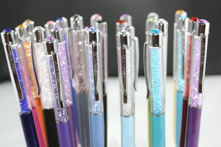 15 cores swarovski crystal pen com diamante na cabeça superior caneta esfe