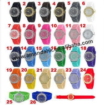 105pcs/lot 2014 hottest woman rhinestone watch geneva brand fashion dress watch lady classic cheap silicone watch