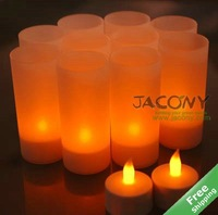 Rechargeable Flameless LED Candle Light+12 Yellow Candles+110V/230V option+adaptor options