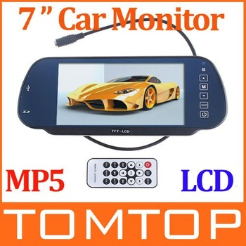 "Car Monitor 7"" Color TFT LCD Car Rearview Monitor SD USB With MP5 FM Transmitter,free Shipping Wholesale"