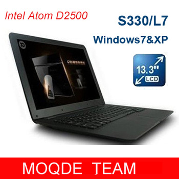 Cheap 13.3 '' windows 7 laptop intel Atom D2500 Dual Core RAM 1GB HDD 160GB Webcam netbook laptops