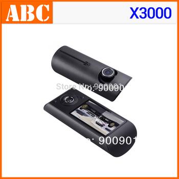 Drop shipping Car DVR X3000 with GPS logger G-sensor 1280 x 480 30FPS Dual lens cameras video recorder Wholesale free shipping