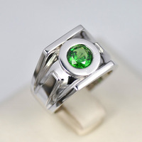 High Quality Classic Solid 925 Sterling Silver Emerald Green Lantern Rings For Men Chritmas Gift Free Shipping Free Engraving